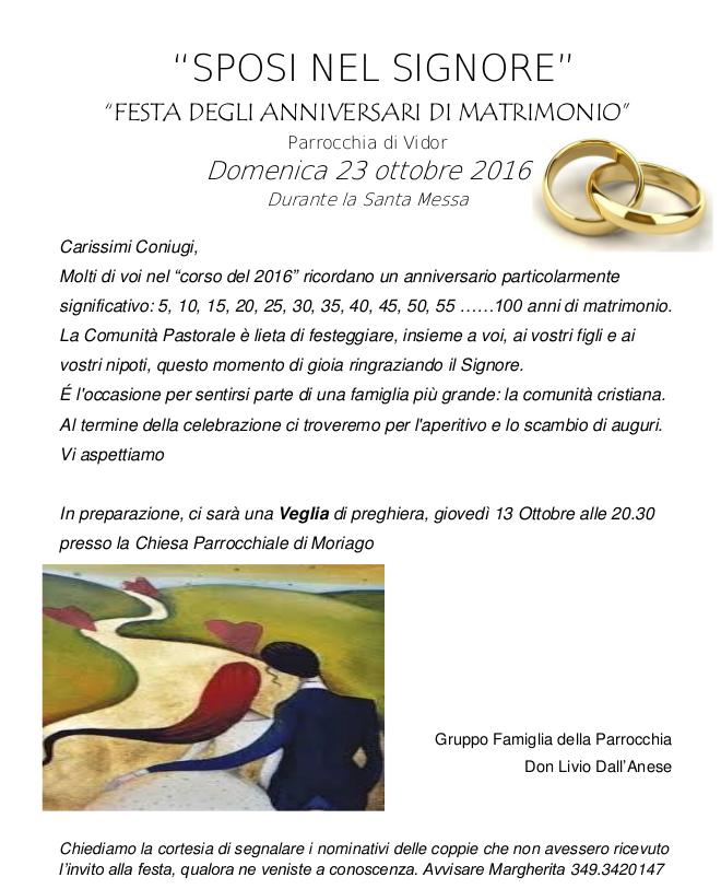 Anniversario Matrimonio Messa.Messa Anniversari Di Matrimonio Vidor Sito Web Unita Pastorale